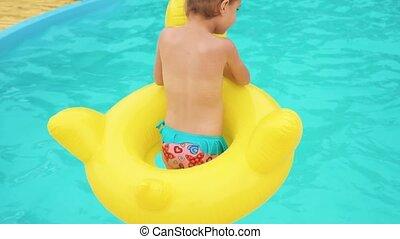 girl, sauter, piscine, natation