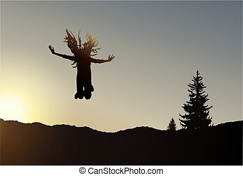 girl, sauter, silhouette