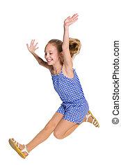 girl, sauts, heureux