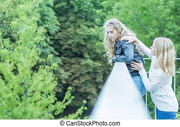 Girl saving life of woman