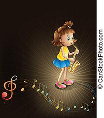 girl, saxophone, doué, jeune