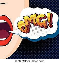 girl says OMG - pop-art style vector illustration, beautiful...