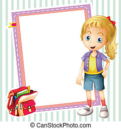 girl, school bag and white board