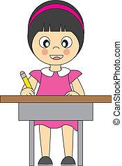 girl, school.