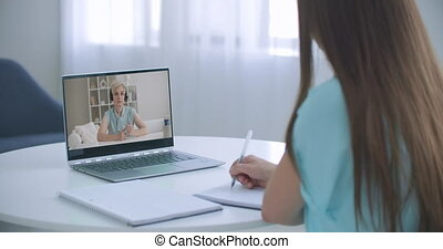 Girl school college student distance learning waving hand ...