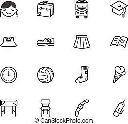 Girl school vecter black icon set on white background