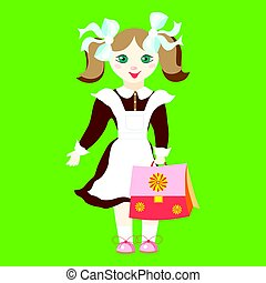 Girl schoolgirl in uniform with blue bows holding a pink schoolbag. Character in the cartoon style. Image in a flat style on a green background