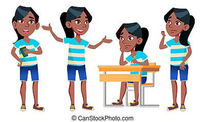 Girl Schoolgirl Kid Poses Set Vector. Black. Afro American. High School Child. Classmate. Teenager, Classroom, Room. For Postcard, Announcement, Cover Design. Isolated Cartoon Illustration