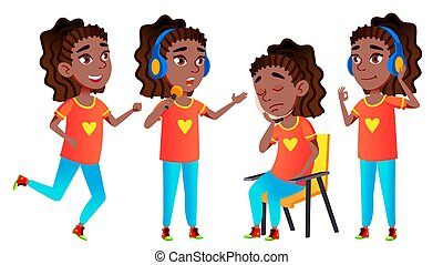 Girl Schoolgirl Kid Poses Set Vector. Black. Afro American. High School Child. Classmate. Life, Emotional, Pose. For Presentation, Print Invitation Design Isolated Cartoon Illustration