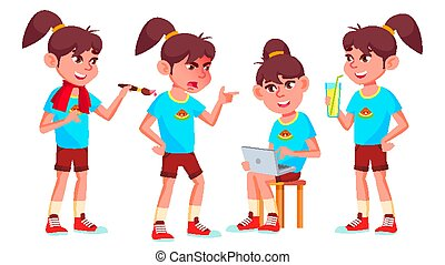 Girl Schoolgirl Kid Poses Set Vector. High School Child. Child Pupil. Subject, Clever, Studying. For Postcard, Announcement, Cover Design. Isolated Cartoon Illustration