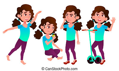 Girl Schoolgirl Kid Poses Set Vector. High School Child. Secondary Education. Casual Clothes, Friend. For Advertisement, Greeting, Announcement Design. Isolated Cartoon Illustration