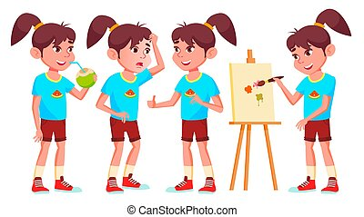 Girl Schoolgirl Kid Poses Set Vector. High School Child. Secondary Education. Educational, Auditorium, Lecture. For Card, Advertisement, Greeting Design. Isolated Cartoon Illustration