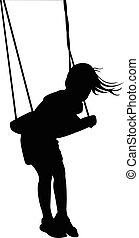 girl, schwingt, silhouette