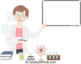 Girl Science Teacher Illustration