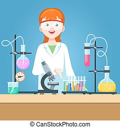 Girl scientist in chemical laboratory