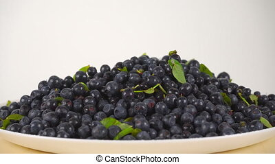 Girl scooping wet huckleberries from rotating plate 4K close up  video