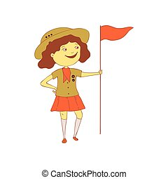 Girl Scout with a flag. Vector illustration on white background.