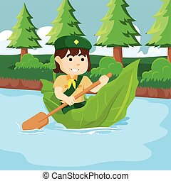 Girl scout with giant leaf boat