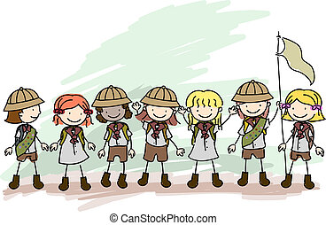 Girl Scouts Doodle - Illustration of Girl Scouts in a Line