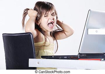 girl screaming at laptop