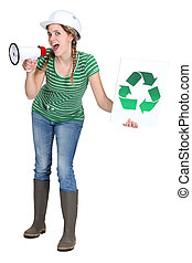 Girl screaming in megaphone with symbol for recycling on a sign