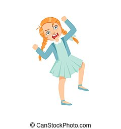 Girl Screming Angry Teenage Bully Demonstrating Mischievous Uncontrollable Delinquent Behavior Cartoon Illustration