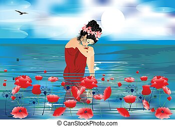 girl, sea and poppies - composition of the girl who sits in...