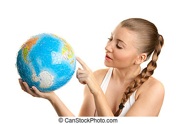 Girl searching on a globe of the world