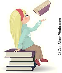 Girl seating on a bunch of books Vector. knowledge and reading symbols