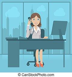 Girl secretary speaks by phone