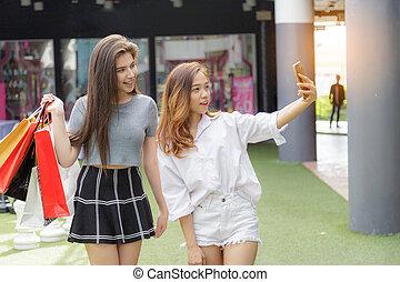 girl, selfie, ami