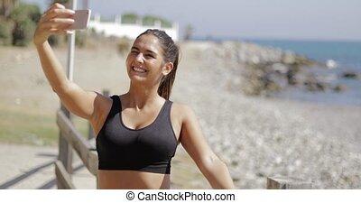 girl, selfie, gai, plage, prendre