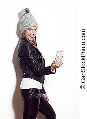 girl, selfie, prendre