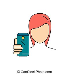 girl, selfie, style, dessin animé, faire