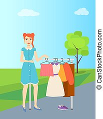 Girl Selling Second Hand Clothes, Garage Sale