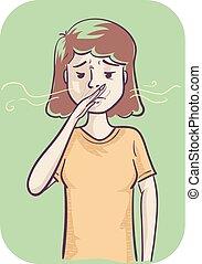 Girl Sensitive Smell Illustration