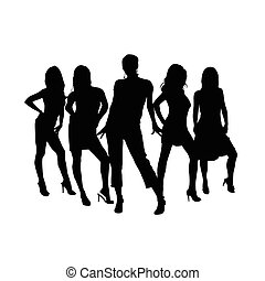 girl sensual set silhouette in black color illustration