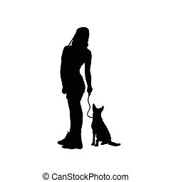 girl sensual silhouette with dog in black illustration