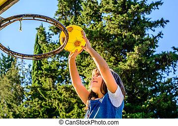 girl, sept, jouer, vieux, basket-ball, année