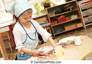 girl, service, restauration