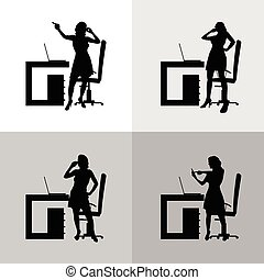 girl set in office silhouette illustration