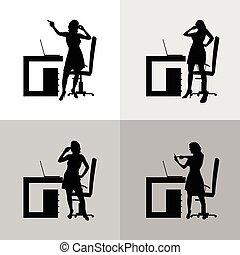 girl set in office silhouette illustration