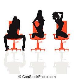 girl set on chair illustration silhouette