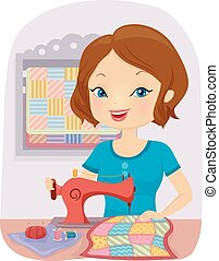 Girl Sew Quilt - Illustration of a Girl Sewing a Colorful...