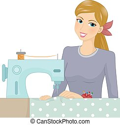Girl Sewing Machine - Illustration of a Female Sewer Working...