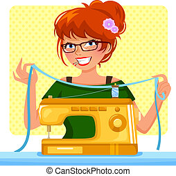 girl sewing machine - girl ready to sew with her sewing...