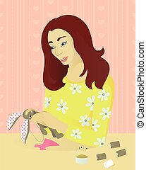 Girl sews a toy - A girl sews a toy vector illustration