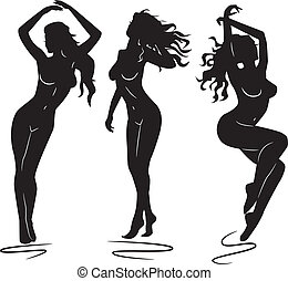 girl, sexy, femme, silhouettes