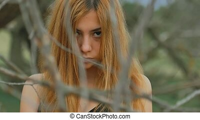 girl sexy in dense forest old dry branches outdoors slow...