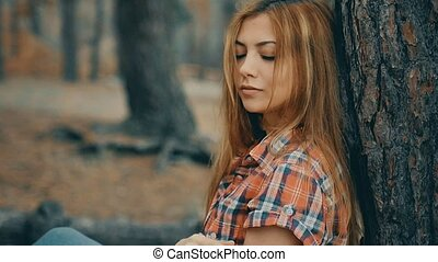 girl sexy in plaid shirt in forest pine slow motion - girl...